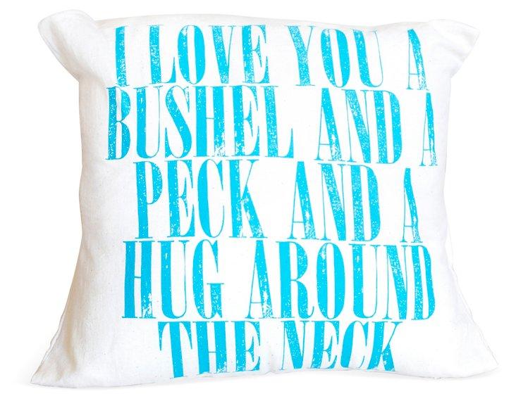 """Bushel & Peck"" 16x16 Pillow, Blue"