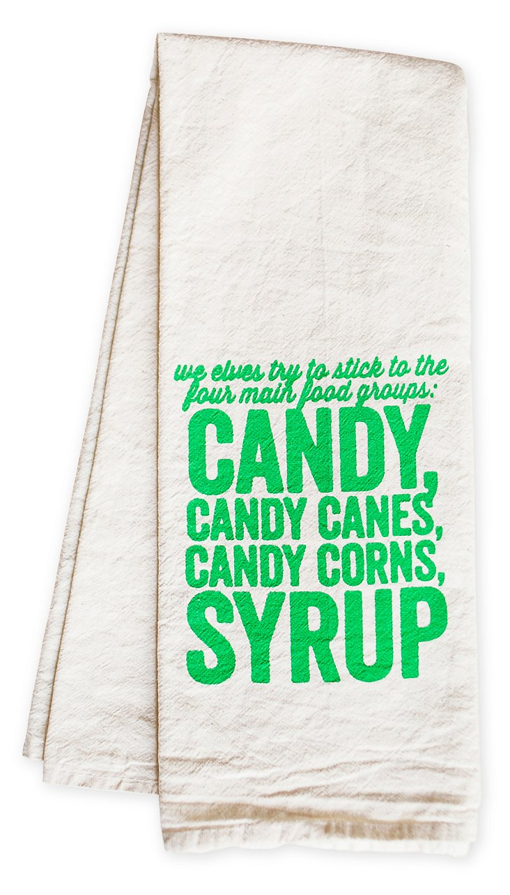 """Food Groups"" Tea Towel, Green"