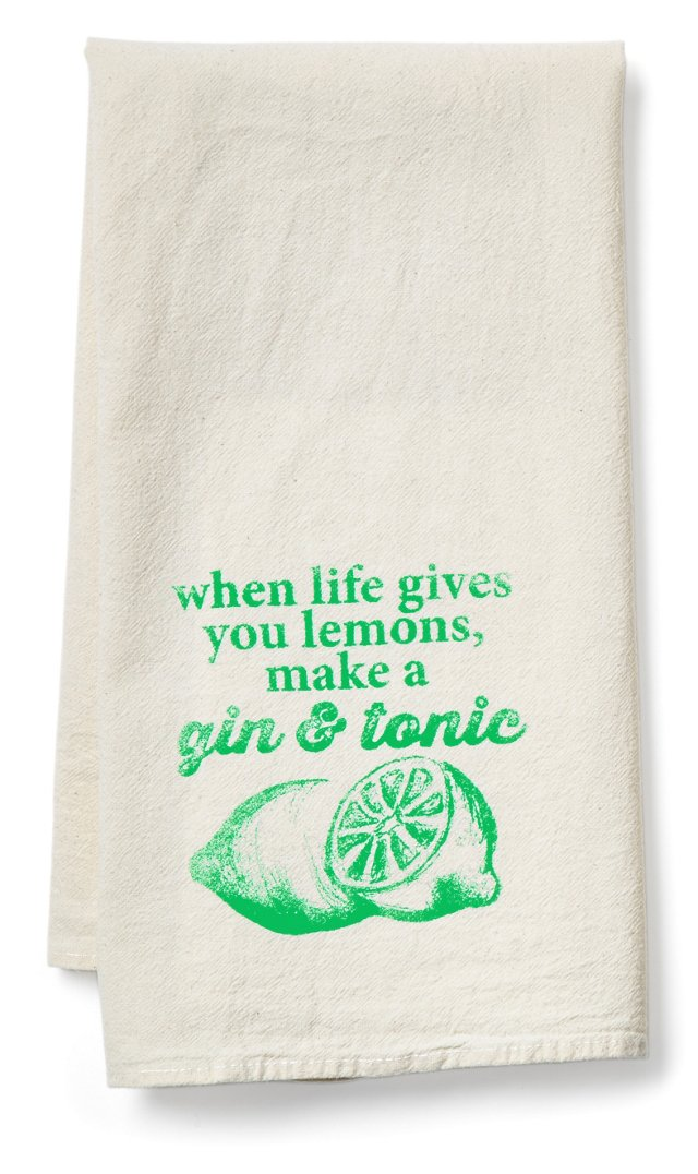 """Lemons"" Tea Towel, Green"