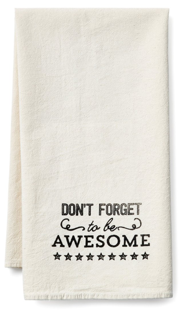 """""""Awesome"""" Tea Towel, Black"""
