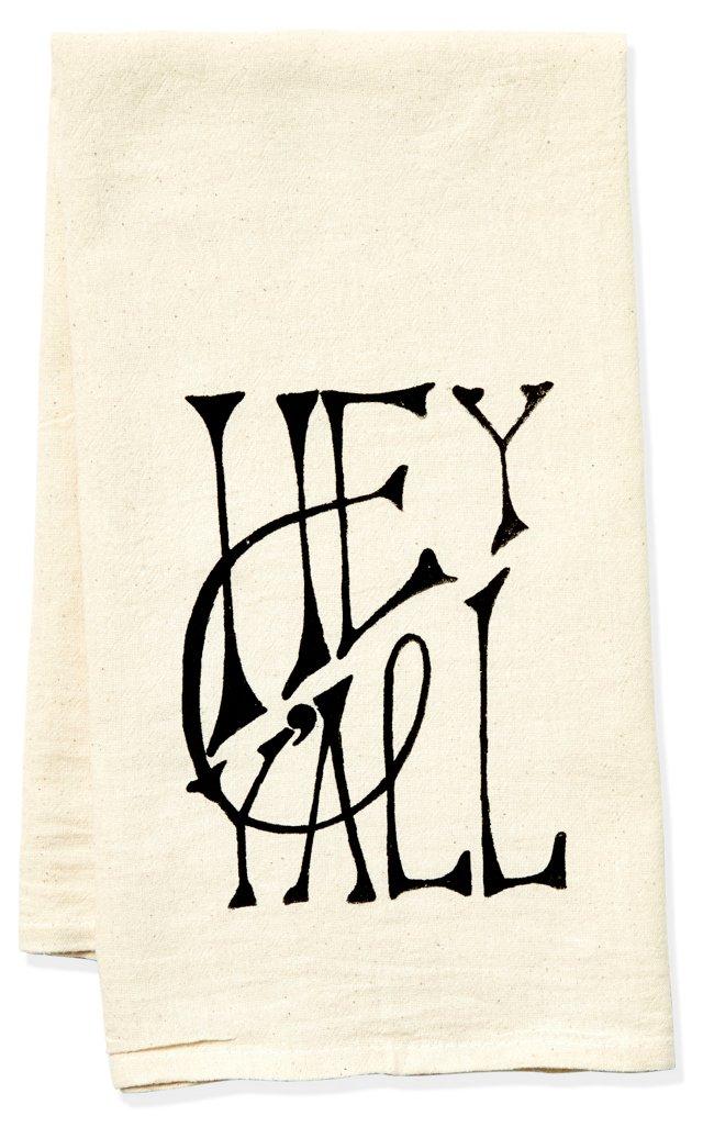 """Hey Y'all"" Tea Towel, Black"