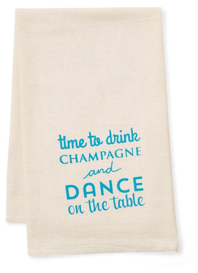 """""""Dance"""" Tea Towel, Blue"""