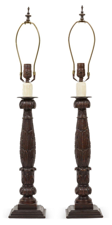 Ebonized Wood Table Lamps, Pair