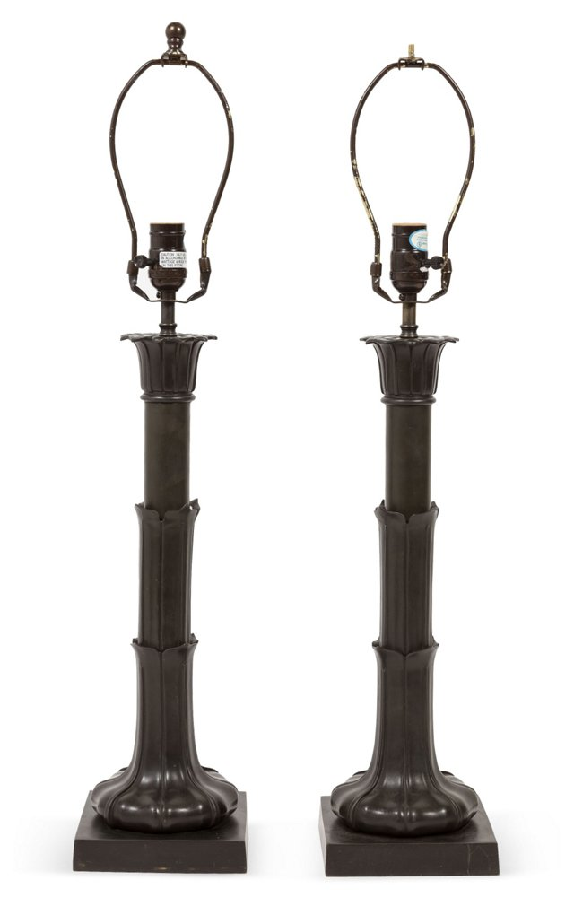Blackened Iron Table Lamps, Pair