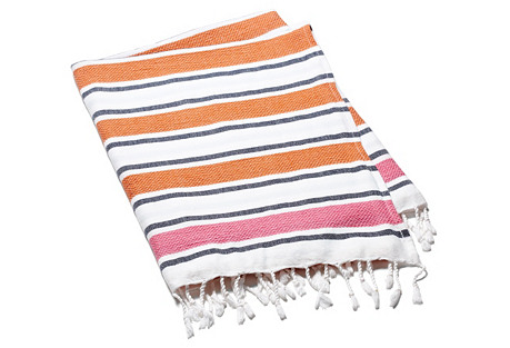 Meltem Towel, Mandarin/Hot Pink