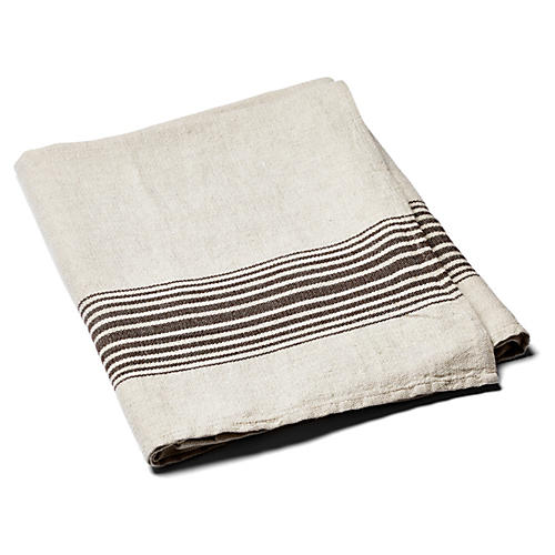 Linen Striped Towel, Brown