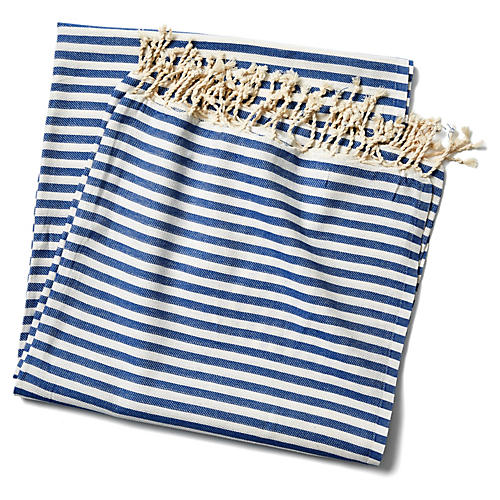 Beach Candy Stripe Blanket, Blue