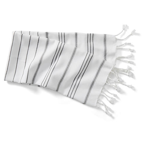 New Linen Striped Hand Towel, White/Slate Gray