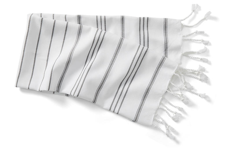 New Linen Striped Hand Towel, White/Slate Gray