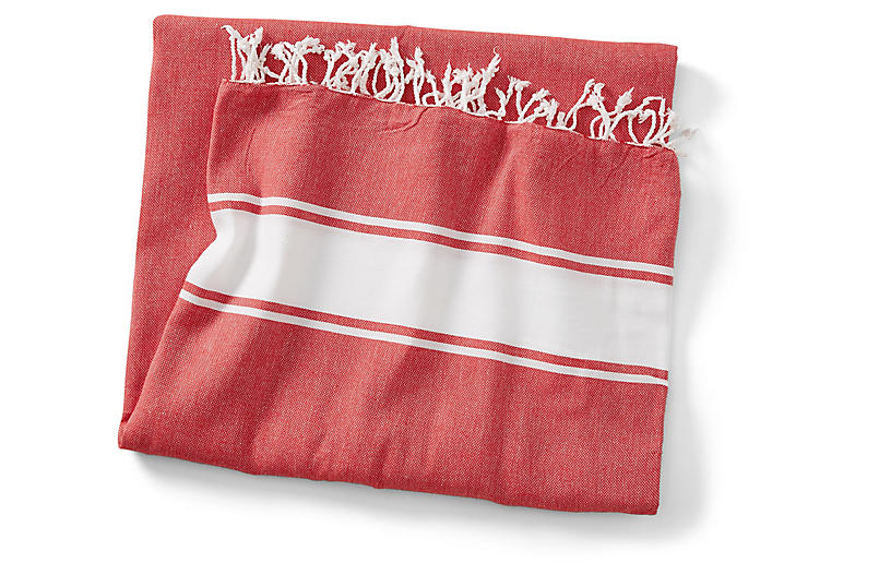 Basic Coverlet, Red/White