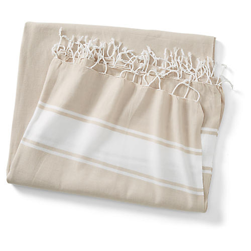 Basic Coverlet, Sand/White