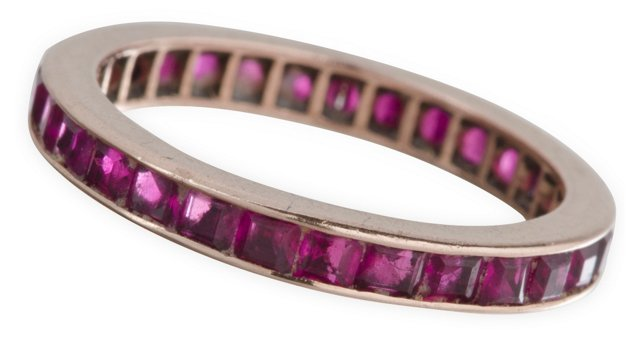 14K Rose Gold & Ruby Eternity Band