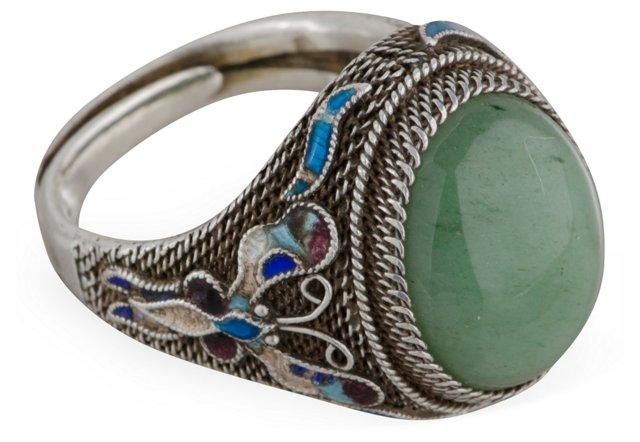 Jade, Silver & Enamel Ring