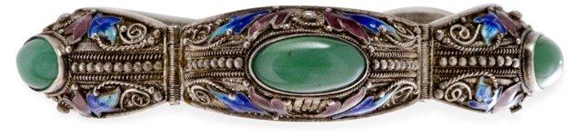 Chinese Silver Enamel Jade Bracelet