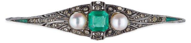 Faux-Emerald & Pearl Bracelet
