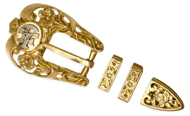 18K Gold Belt Buckle Ranger Set, 4 Pcs.