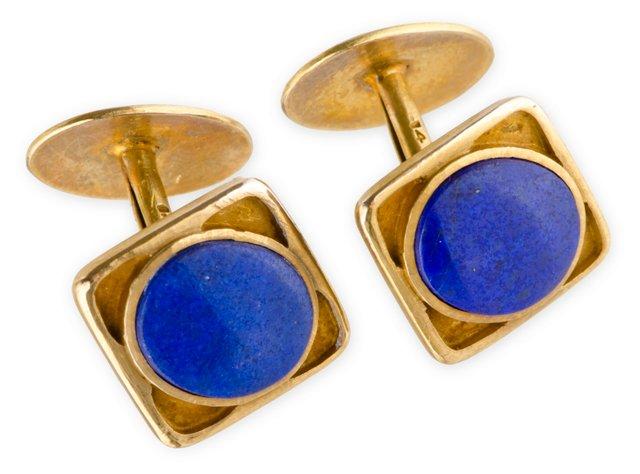 Gold Lapis Lazuli Cufflinks