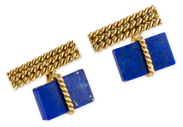 18K Gold Lapis Cufflinks