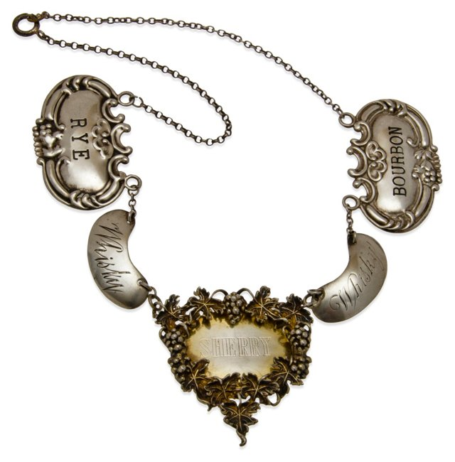 English Sterling Liquor-Tag Necklace