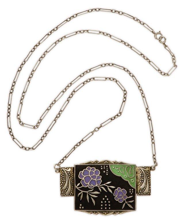 Antique German Sterling Enamel Necklace