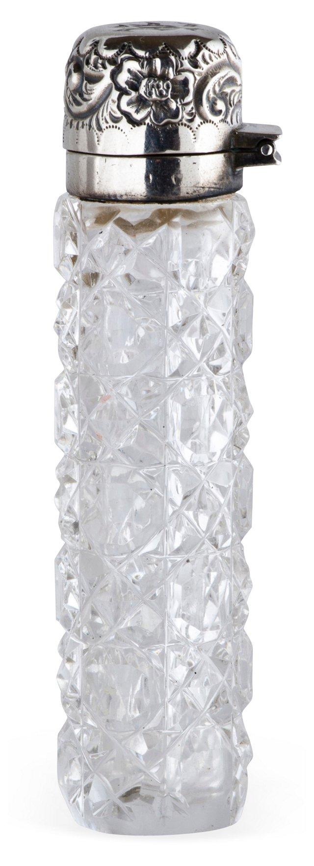 19th-C. Cut-Crystal Sterling Perfume