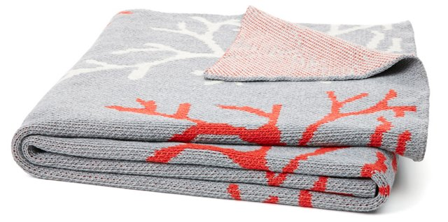 Coral Knit Cotton-Blended Throw, Gray