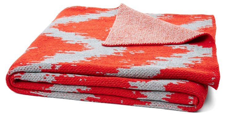 Strie Knit Cotton Blend Throw, Aluminum