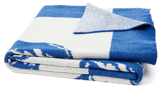 Conch Knit Cotton-Blend Throw, Blue