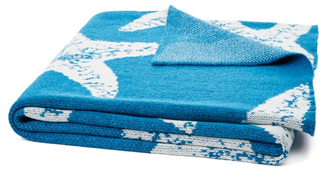 Sea Star Cotton-Blended Throw, Blue