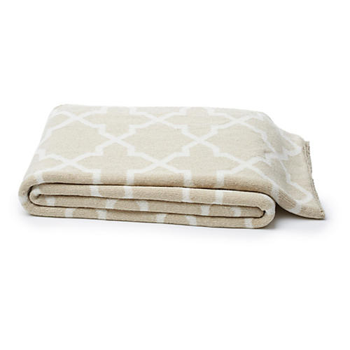 Moroccan Cotton-Blended Throw, Cream