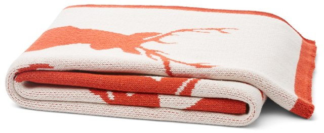 Stag Cotton-Blended Throw, Spice