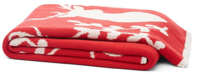 Stag Cotton-Blended Throw, Cherry