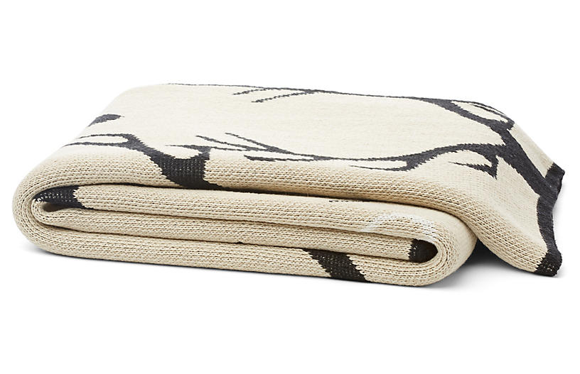 Stag Longhorn Cotton-Blended Throw, Flax