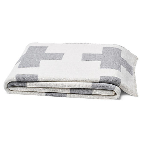 Swiss Cross Cotton-Blended Throw, Gray
