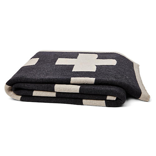 Swiss Cross Cotton-Blended Throw, Smoke