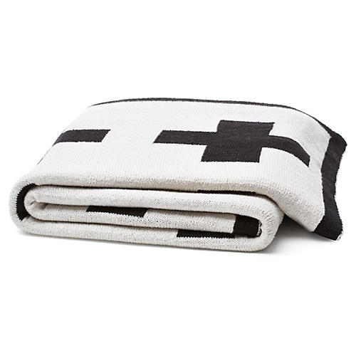 Swiss Cross Reversible Throw, Black