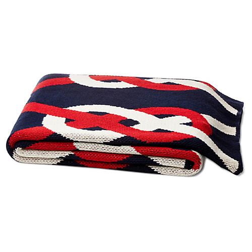 Sailor Knot Cotton-Blended Throw, Red