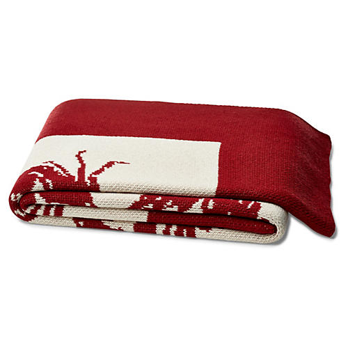 Crab Cotton-Blend Throw, Red