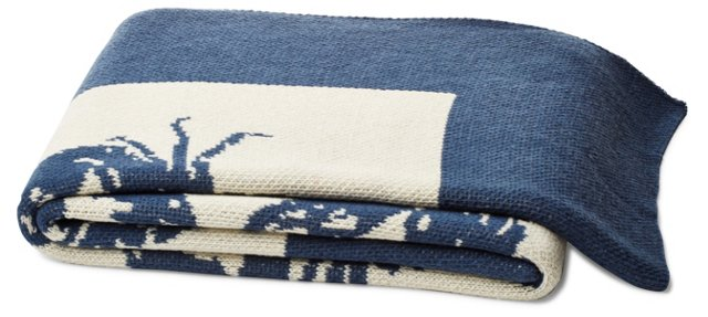 Crab Cotton-Blended Throw, Blue