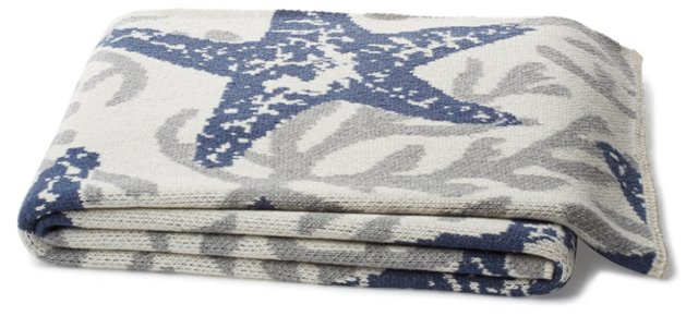 Starfish Cotton-Blended Throw, Gray/Blue