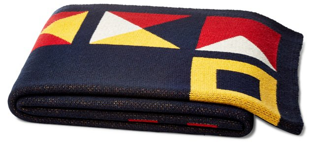 Border Flag Cotton-Blended Throw, Multi