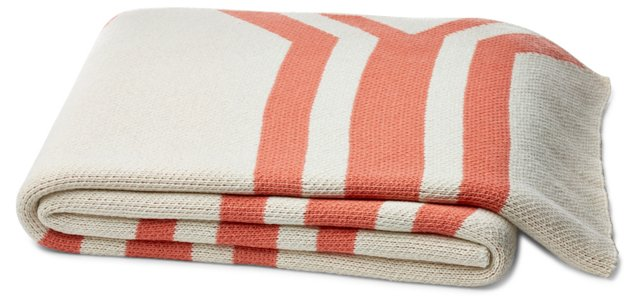 Serape Cotton-Blended Throw, Coral