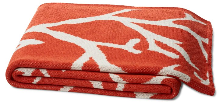 Coral Cotton-Blended Throw, Orange