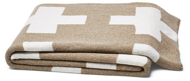 Swiss Cross Cotton-Blended Throw, Khaki