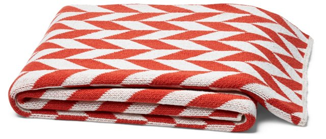Chevron Cotton-Blended Throw, Red