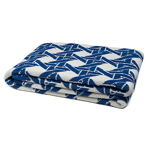 Eco Cane Throw, Milk/Cobalt