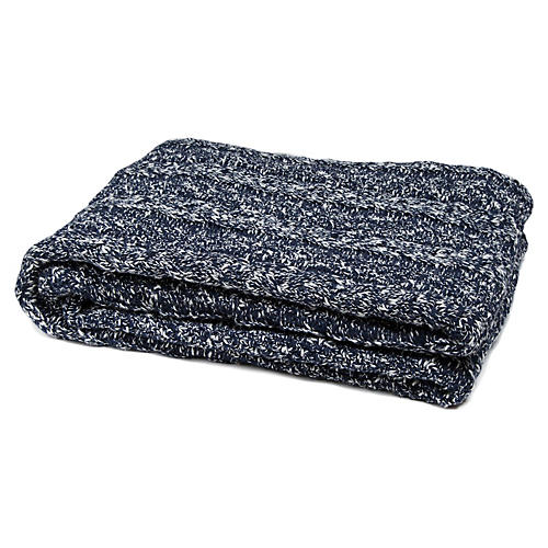 Reversible Heathered Cable Throw, Marine