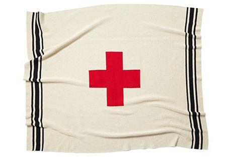 Swiss Cross Throw, Flax