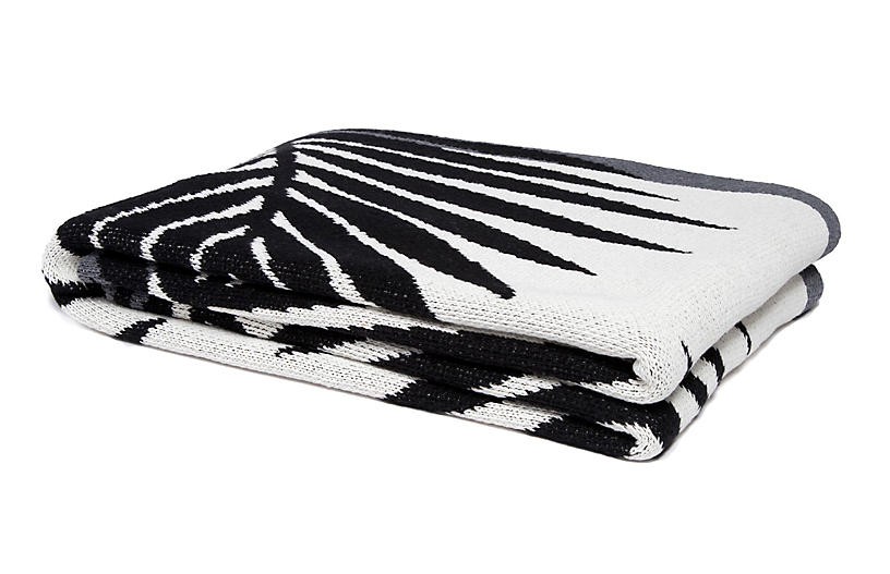 Tropical Palm Outdoor Cotton Throw - Black/White - In2Green