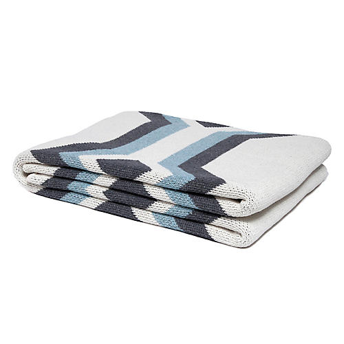 Serape Outdoor Cotton Throw, Milk/Smoke